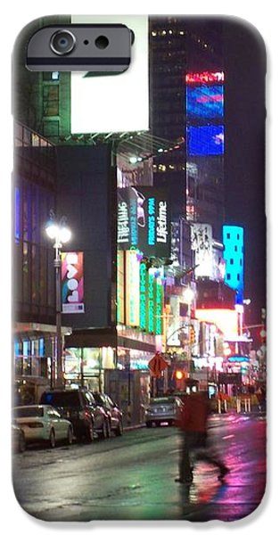 Times Square in the rain 2 iPhone Case by Anita Burgermeister