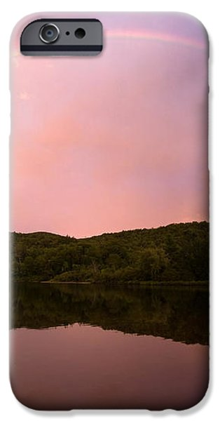 Timing is Divine Rainbow over Vermont Mountains iPhone Case by Stephanie McDowell