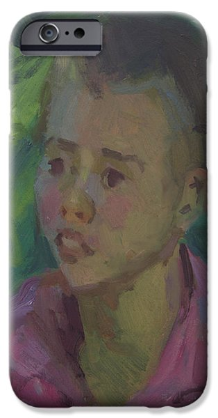 Young Paintings iPhone Cases - Timmy iPhone Case by Diane McClary
