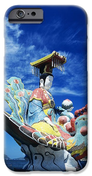 Repulse iPhone Cases - Tin Hua Temple closeup of colorful statue iPhone Case by Gloria and Richard Maschmeyer - Printscapes