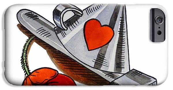 Kids Art Paintings iPhone Cases - Tin Man Hat The Wizard Of Oz iPhone Case by Irina Sztukowski