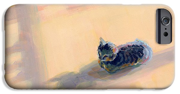 Commissions iPhone Cases - Tiny Kitten Big Dreams iPhone Case by Kimberly Santini