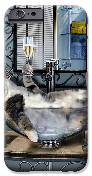 Bathroom iPhone Cases - Funny pet print with a tipsy kitty  iPhone Case by Gina Femrite