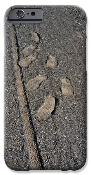 Best Sellers -  - Prescott iPhone Cases - Tire Tracks and Foot Prints iPhone Case by Heather Kirk