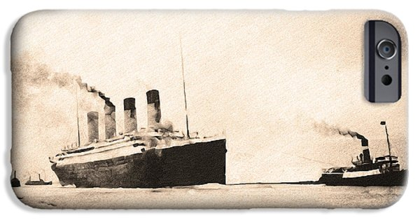 Heading Out iPhone Cases - Titanic - Heading Out to Sea iPhone Case by Bill Cannon