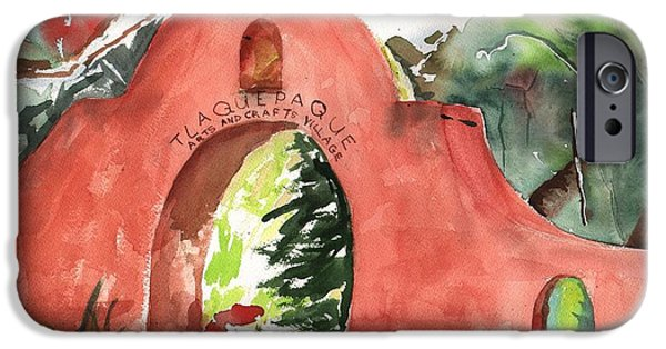 Oak Creek Paintings iPhone Cases - Tlaquepaque Arts and Crafts Village iPhone Case by Sharon Mick