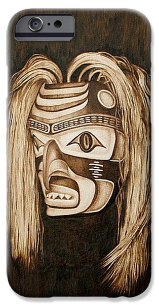 Shark Pyrography iPhone Cases - Tlingit shark Mask iPhone Case by Cynthia Adams