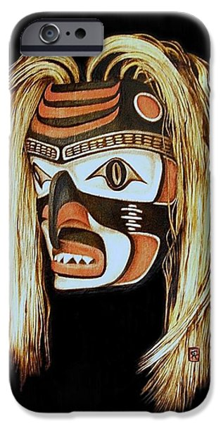 Fish Pyrography iPhone Cases - Tlingit Shark Mask in color iPhone Case by Cynthia Adams