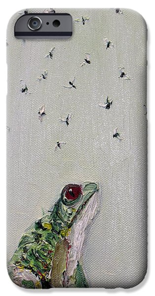 Flying Frog iPhone Cases - To Save Their Small Lives From Surrounding Death iPhone Case by Fabrizio Cassetta