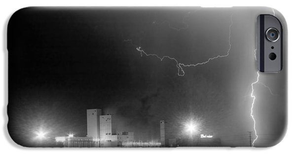 Lightning Images iPhone Cases - To The Right Budweiser Lightning Strike BW iPhone Case by James BO  Insogna