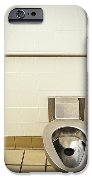 Toilet in a Public Restroom iPhone Case by Thom Gourley/Flatbread Images, LLC