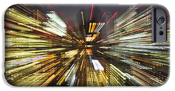 Man Made Space iPhone Cases - Tokyo Lights At Night A Zoom Effect iPhone Case by Bryan Mullennix