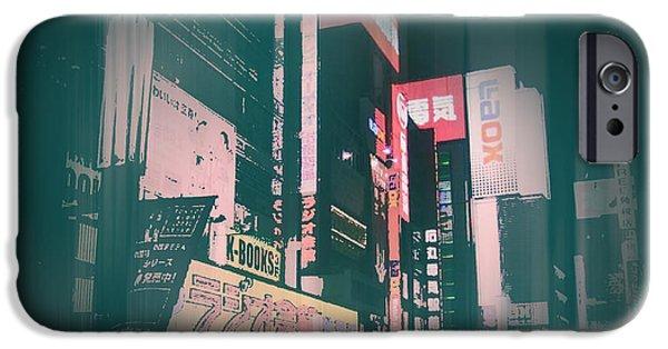 Old Digital Art iPhone Cases - Tokyo Lights iPhone Case by Naxart Studio