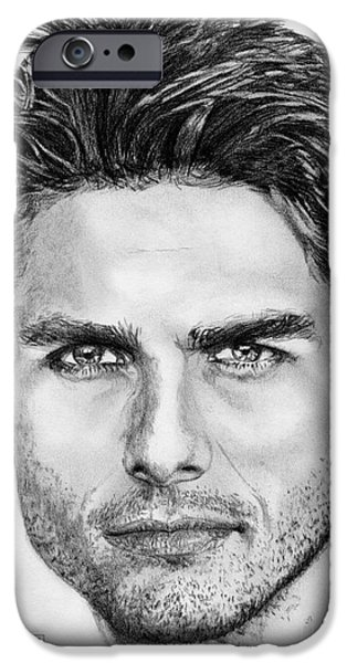 Celebrities Art iPhone Cases - Tom Cruise in 1999 iPhone Case by J McCombie