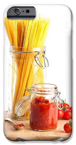 Tomatoes Sauce and  Spaghetti Pasta  iPhone Case by Amanda And Christopher Elwell