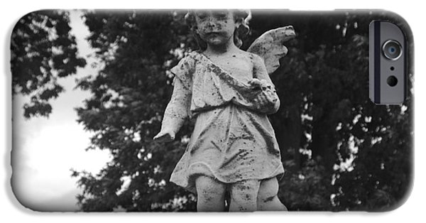 Best Sellers -  - Seraphim Angel iPhone Cases - Tombstone Angel BW iPhone Case by J M Lister