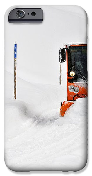 Tons of snow - winter road clearance iPhone Case by Matthias Hauser