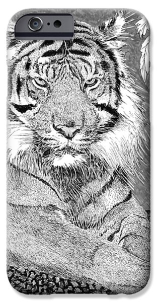 The Tiger Drawings iPhone Cases - Tony the Tiger iPhone Case by Jack Pumphrey