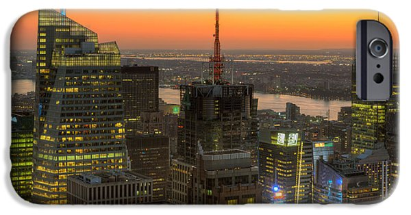 Nast iPhone Cases - Top of the Rock Twilight IX iPhone Case by Clarence Holmes