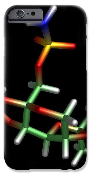 Topiramate Molecule, Anti-epilepsy Drug iPhone Case by Dr Tim Evans
