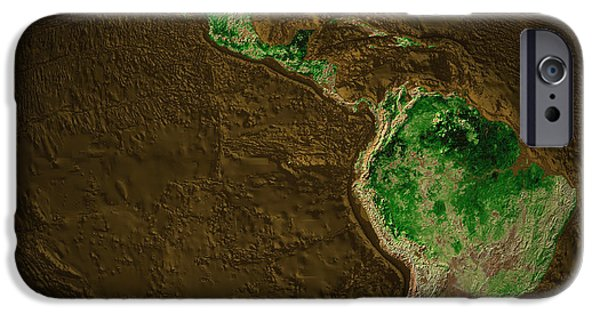 Terrestrial Sphere iPhone Cases - Topographic Map Of Earth iPhone Case by Stocktrek Images