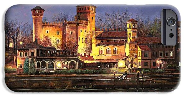 River iPhone Cases - Torino-il borgo medioevale di notte iPhone Case by Guido Borelli