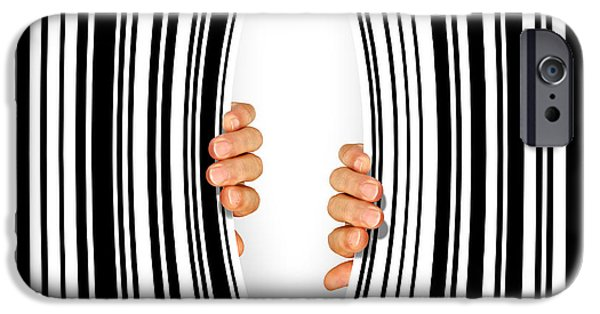 Escape iPhone Cases - Torn Bar Code iPhone Case by Carlos Caetano