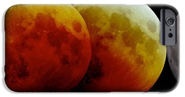 2000s iPhone Cases - Total Lunar Eclipse, Montage Image iPhone Case by Laurent Laveder