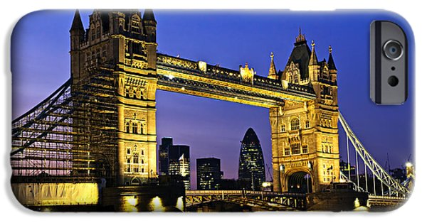 High Tower iPhone Cases - Tower bridge in London at night iPhone Case by Elena Elisseeva