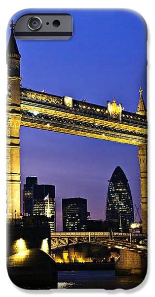 Tower bridge in London at night iPhone Case by Elena Elisseeva