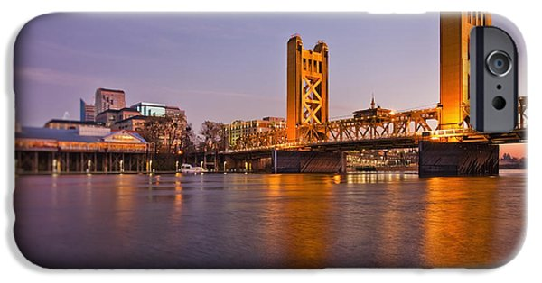 Man Made Space iPhone Cases - Tower Bridge Over The Sacramento River iPhone Case by Bryan Mullennix