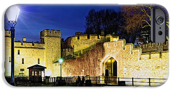 Lamppost iPhone Cases - Tower of London walls at night iPhone Case by Elena Elisseeva