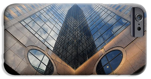 Finance iPhone Cases - Towering Modern Skyscraper in Downtown iPhone Case by Gary Whitton