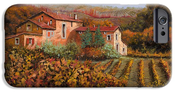 Farm iPhone Cases - tra le vigne a Montalcino iPhone Case by Guido Borelli