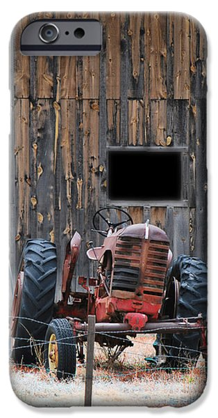 Old Barns iPhone Cases - Tractor and The Barn iPhone Case by Donna Van Vlack