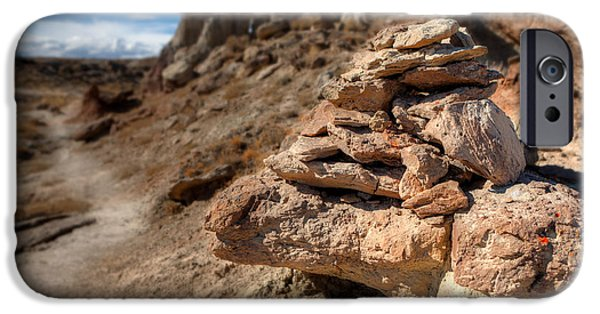 Wyoming iPhone Cases - Trail Cairn At Gooseberry Badlands Wyoming iPhone Case by Steve Gadomski