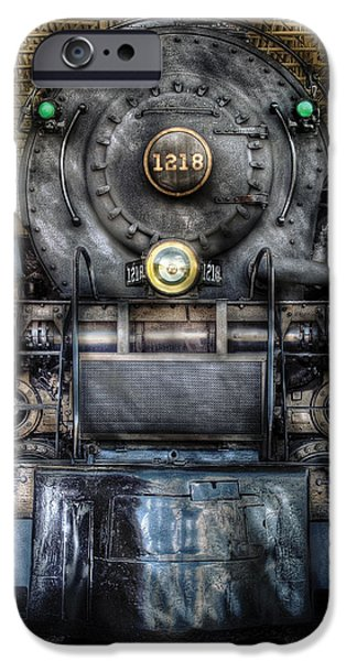 Train iPhone Cases - Train - Engine -1218 - Norfolk Western Class A - 1218 - Front View iPhone Case by Mike Savad