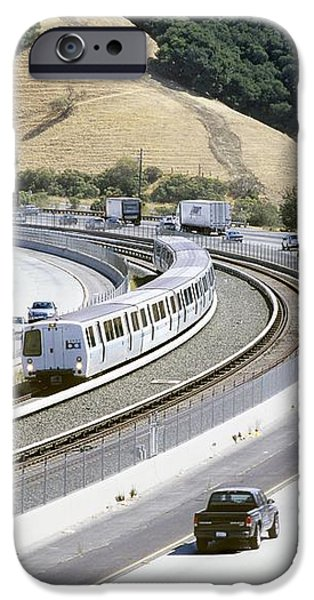 Train And Motorway, California, Usa iPhone Case by Martin Bond