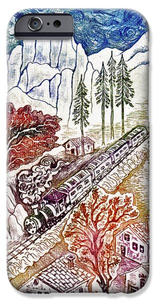 Red Rock Drawings iPhone Cases - Train iPhone Case by Milen Litchkov