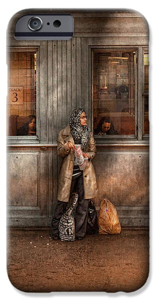 Train - Station - Waiting for the next train iPhone Case by Mike Savad
