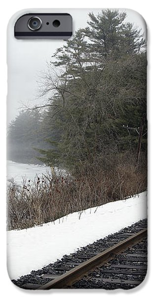 Train Tracks In Snowy Landscape iPhone Case by Roberto Westbrook