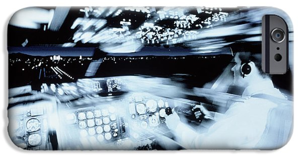 Technology iPhone Cases - Training Of A Co-pilot In A Flight Simulator iPhone Case by Geoff Tompkinson