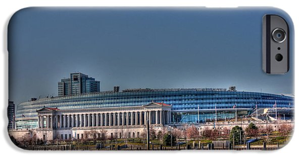 Soldier Field iPhone Cases - Tranquility Base here--the Eagle has landed iPhone Case by David Bearden