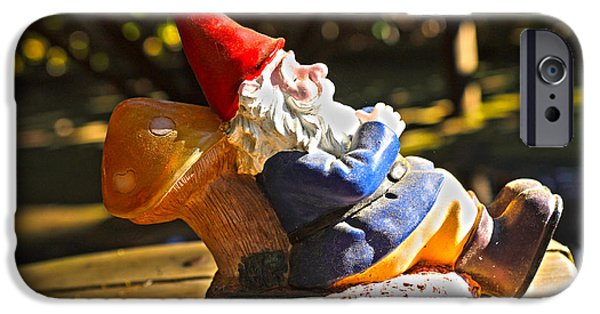 Garden Statuary iPhone Cases - Travel Gnome Sunning iPhone Case by Cheryl Young
