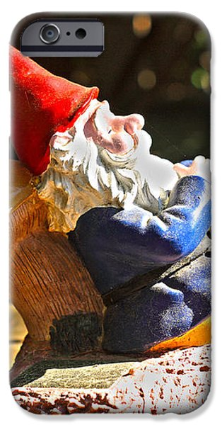 Travel Gnome Sunning iPhone Case by Cheryl Young