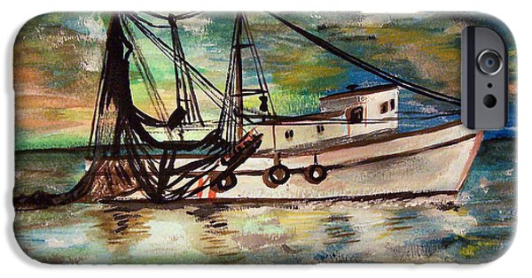 Net Paintings iPhone Cases - Trawling iPhone Case by Lady I F Abbie Shores