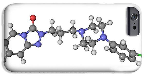 Antidepressant iPhone Cases - Trazadone Antidepressant Drug Molecule iPhone Case by Laguna Design
