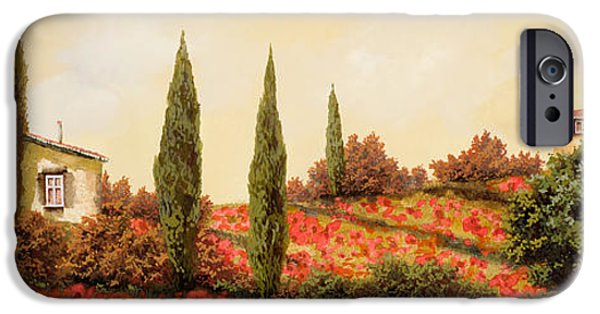 Landscape iPhone Cases - Tre Case Tra I Papaveri iPhone Case by Guido Borelli