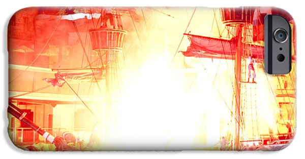 Pirate Ships iPhone Cases - Treasure Island Explosion iPhone Case by Andy Smy