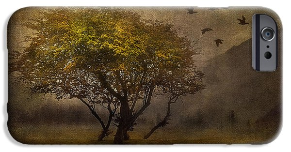 Fog Mist Mixed Media iPhone Cases - Tree and Birds iPhone Case by Svetlana Sewell